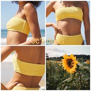 LA Hearts Yellow Scrunch Bandeau Bikini Top